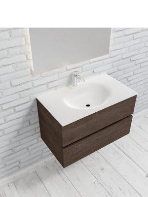 Mueble de baño suspendido Vica 80 Wood nogal 2 cajones en acabado Wood nogal mate. Un mueble de baño de apertura suave por uñero con encimera para grifo sobre encimera.