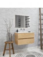 Mueble de baño suspendido Vica 80 Wood roble natural 2 cajones en acabado Wood roble natural mate. Un mueble de baño de apertura suave por uñero con encimera para grifo empotrado.
