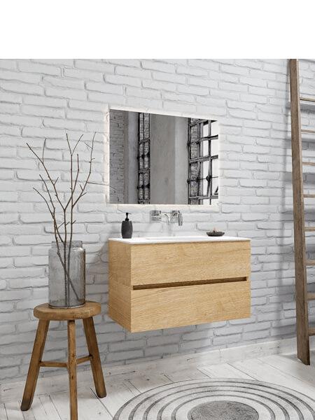 Mueble de baño 80 cm Wood roble natural con 2 cajones, lavabo de Solid surface seno centrado con 0 orificio(s) para el grifo.