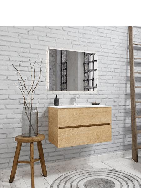 Mueble de baño 80 cm Wood roble natural con 2 cajones, lavabo de Solid surface seno centrado con 1 orificio(s) para el grifo.