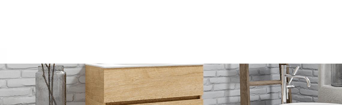 Mueble de baño suspendido Vica 80 Wood nogal 2 cajones en acabado Wood roble natural mate. Un mueble de baño de apertura suave por uñero con encimera para grifo sobre encimera.