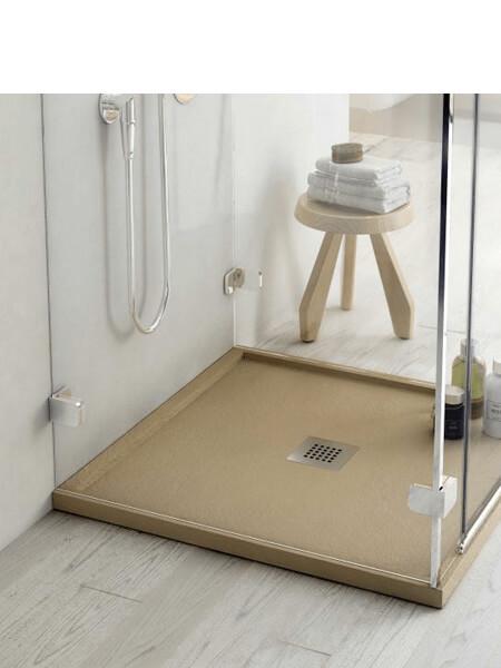 Plato de ducha Fiora enmarcado Silex pizarra 100 x 100 x 4 cm d.centrado