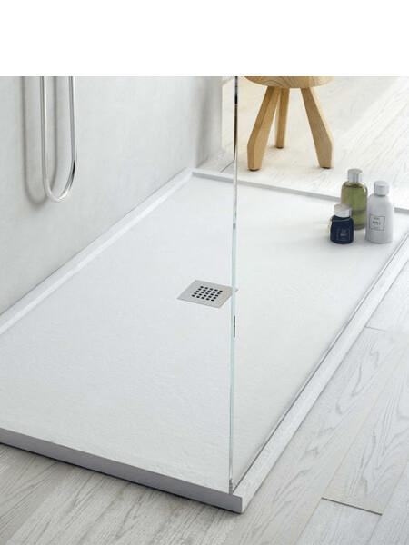 Plato de ducha Fiora enmarcado Silex textura pizarra 90 x 70 x 4 cm. Platos de ducha fabricados en España de gama alta del prestigioso fabricante Fiora.