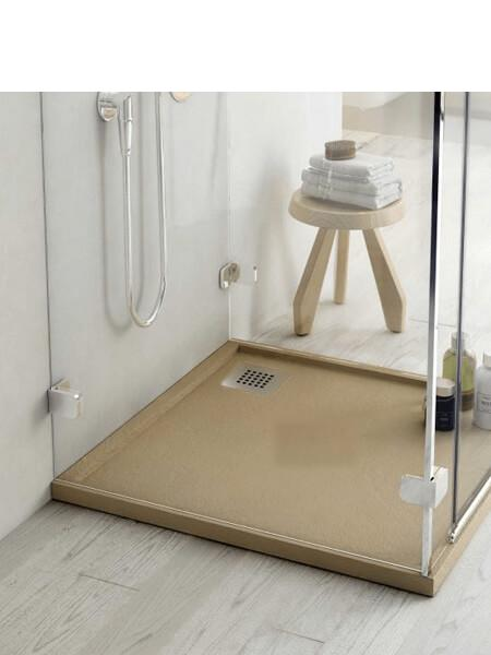 Plato de ducha Fiora enmarcado Silex textura pizarra 100 x 100 x 4 cm
