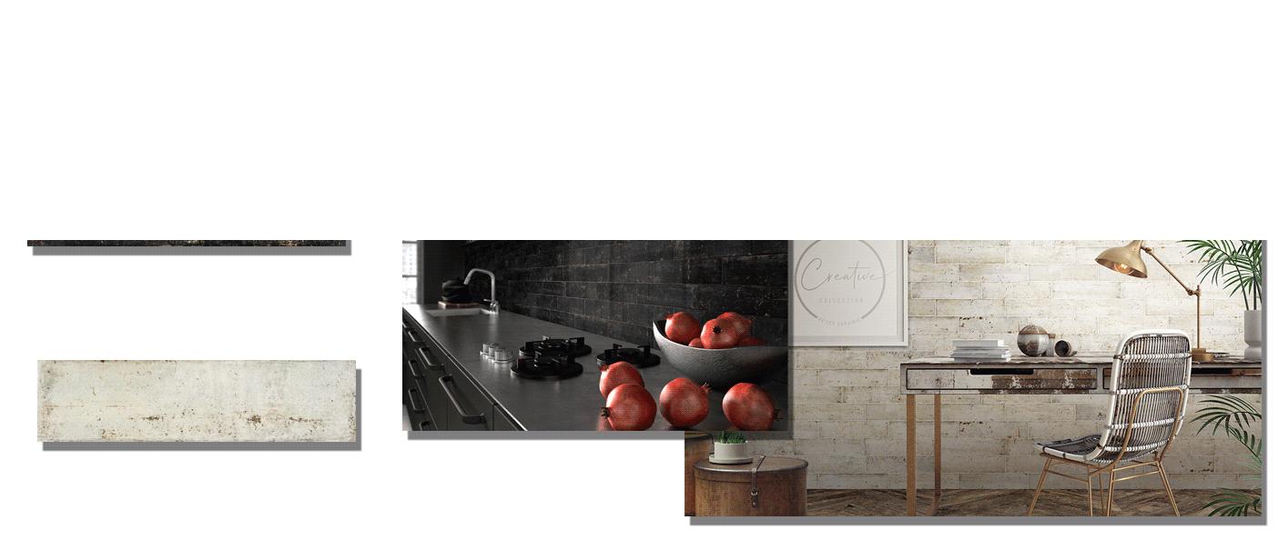 Revestimiento pasta blanca Norai Black matt 7.5x30 cm. Un azulejo para revestimiento de un claro estilo retro industrial en pequeño formato