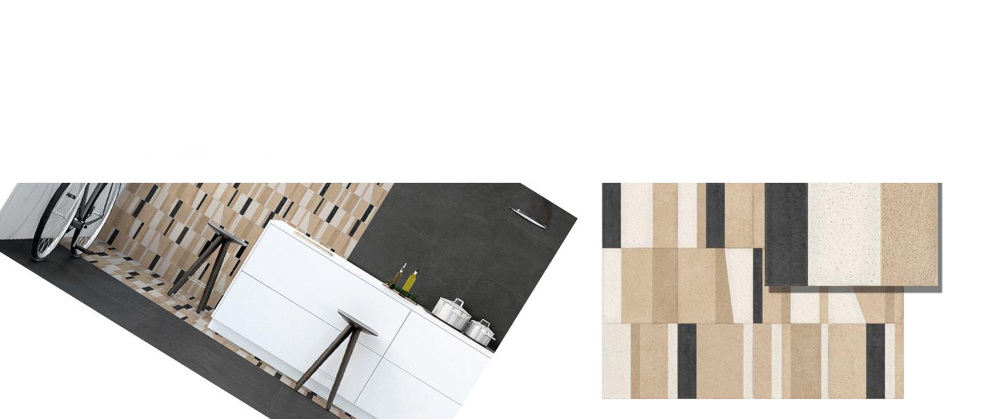 Revestimiento porcelánico Potter 15x15 cm. Un azulejo de diseño moderno con una gran variedad de plantillas, válido para suelos o paredes.