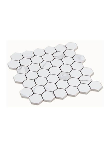 Azulejo porcelánico hexagonal enmallado calacatta 30x30 cm tesela de 4.9 x 5,6 cm (venta por mallas).Azulejo enmallado.