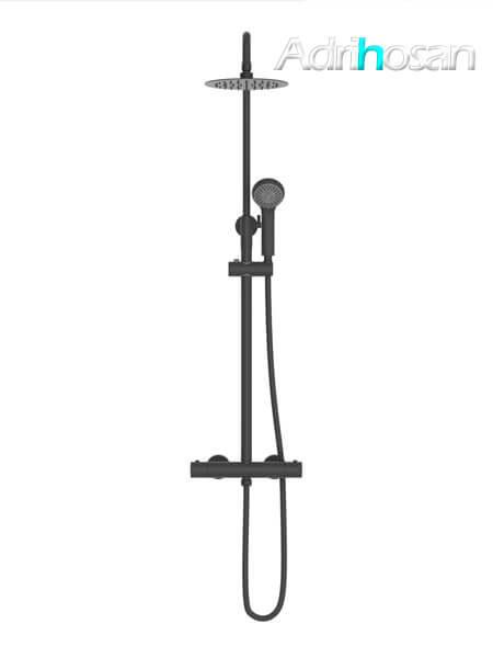 Columna de ducha termostática Madrid negro mate