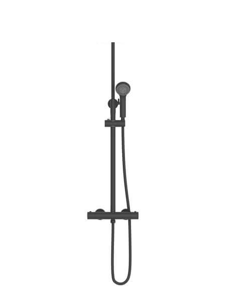 Columna de ducha termostática Madrid acabado negro mate. Una barra de ducha termostática en el acabado negro que es tendencia en el diseño.