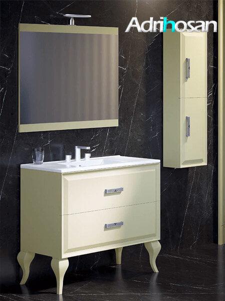 Mueble de baño a suelo 2 cajones Alda 100 cm crema mate