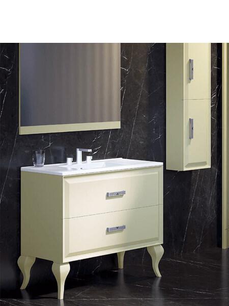 Mueble de baño a suelo 2 cajones Alda 100 cm. Mueble de baño acabado Crema Mate con encimera cerámica.Posibilidad de espejo y columna.