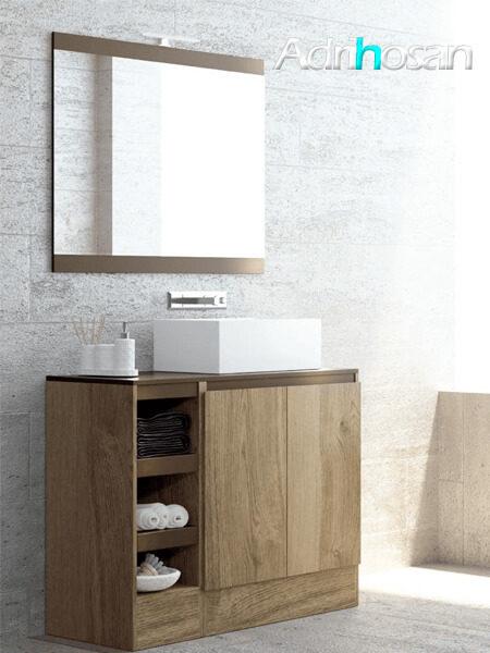 Mueble de baño a suelo 2 puertas 4 baldas Aqua 120 cm Tinte Nuez