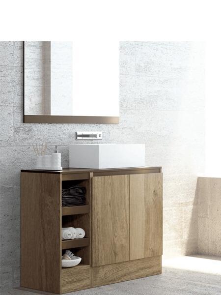 Mueble de baño a suelo 2 puertas 4 baldas Aqua 120 cm Tinte Nuez. Mueble muy funcional con mucho espacio de almacenaje fabricado en España.