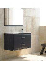 Mueble de baño suspendido 2 cajones Alda 100 cm. Mueble de baño acabado Melamina Azabache - Frentes Negro Mate con encimera cerámica.
