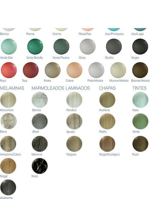 Colores y acabados del mueble de baño suspendido 2 cajones Alda 100 cm.