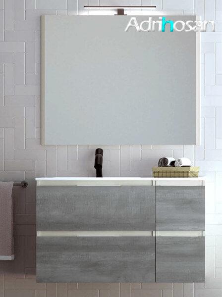 Mueble de baño suspendido 4 cajones Aqua 100 cm Panna Mate - Frentes Steel