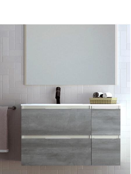 Mueble de baño suspendido 4 cajones Aqua 100 cm. Mueble de baño acabado Melamina Panna Mate - Frentes Steel con encimera cerámica.