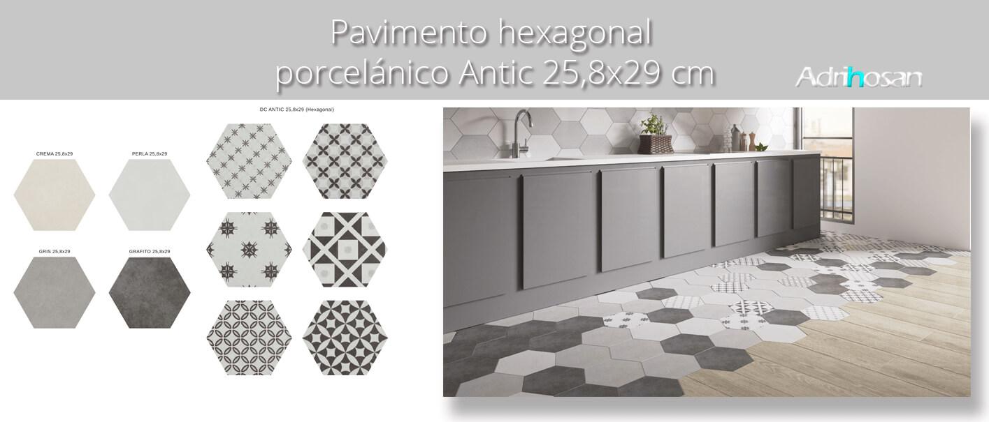 Pavimento hexagonal porcelánico Antic 25,8x29 cm. Azulejo anti hielo de alta decoración para suelos o paredes para diseños exclusivos.
