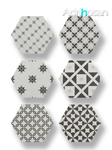 Pavimento hexagonal porcelánico Antic Decorado 25,8x29 cm (1 m2/cj)