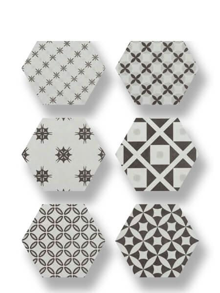 Pavimento hexagonal porcelánico Antic Decor 25,8x29 cm. Azulejo anti hielo de alta decoración para suelos o paredes para diseños exclusivos.