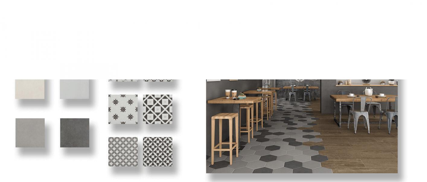 Pavimento porcelánico Antic 22.3x22.3 cm. Azulejo anti hielo de alta decoración para suelos o paredes para diseños exclusivos.