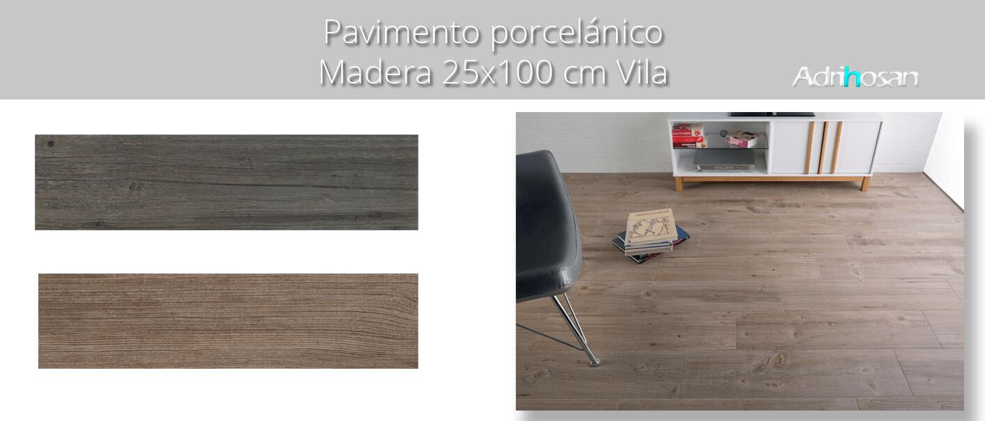 Pavimento porcelánico Vila Grey 25x100 cm imitación madera. Un azulejo para suelos interiores o exteriores que te encantará por su calidez.