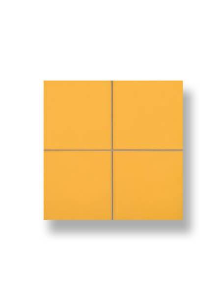 Revestimiento precorte 10x10 pasta roja liso mostaza 20x20 cm. Un azulejo fácil de instalar y que te ofrecerá el aspecto de un azulejo 10x10 cm.