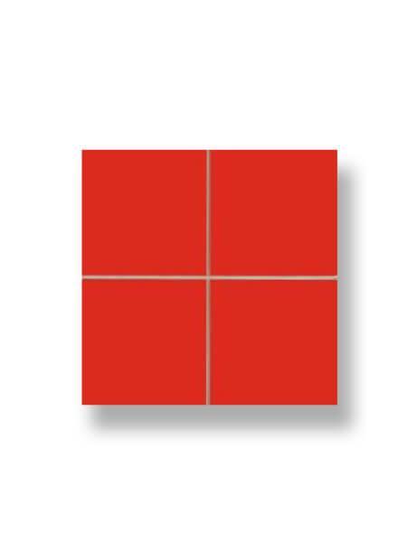 Revestimiento precorte 10x10 pasta roja liso rojo 20x20 cm. Un azulejo fácil de instalar y que te ofrecerá el aspecto de un azulejo 10x10 cm.