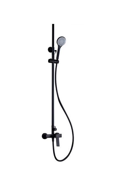 Columna de ducha monomando Castellón negro mate. Sugerente y atractivo conjunto de ducha monomando con altura regulable y diseño exclusivo.