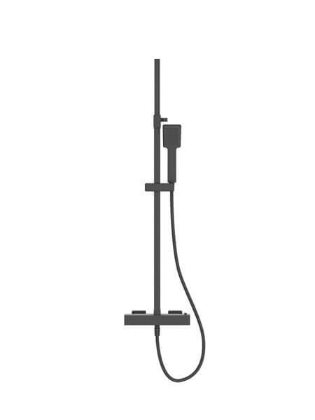 Columna de ducha termostática Sevilla acabado negro mate. Una barra de ducha termostática en el acabado negro que es tendencia en el diseño.
