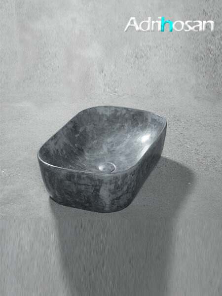 Lavabo microcemento sobre encimera Bowl Acero 60.5x40x15.5 cm