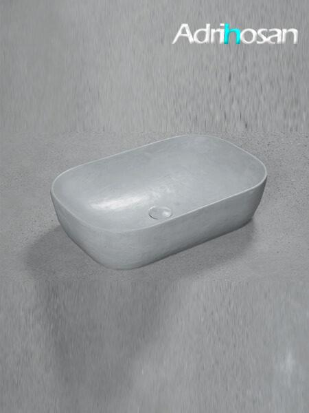 Lavabo microcemento sobre encimera Bowl Perla 60.5x40x15.5 cm