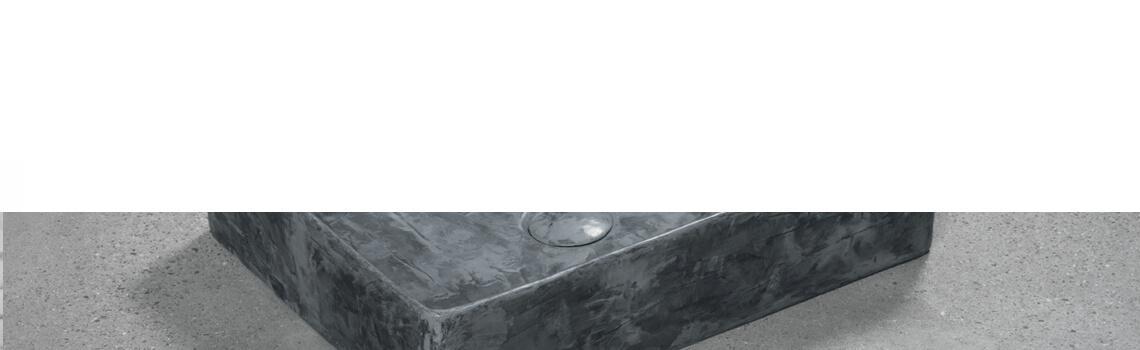 Lavabo microcemento sobre encimera rettangolare Acero 47x37x11.5 cm. Descubre la exclusividad del microcemento. Un lavabo de diseño con válvula incluida.