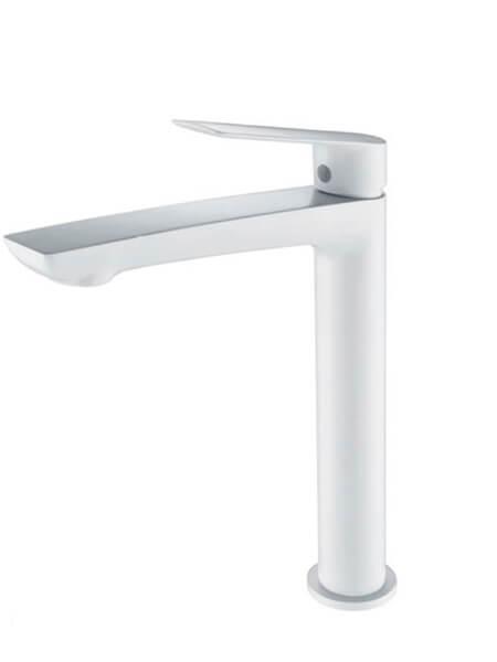 Monomando lavabo alto Castellón blanco mate. La grifería Castellón se caracteriza por las suaves curvas que delimitan su contorno.