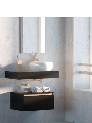 Mueble de baño suspendido 1 cajón Aqua 80 cm Negro Mate. Mueble de baño con balda con faldón y modulo de 1 cajón con regleta en cobre.