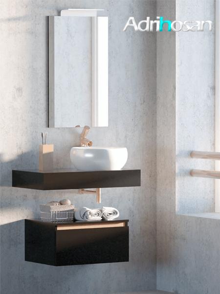 Mueble de baño suspendido 1 cajón Aqua 80 cm Negro Mate - Regleta Cobre Mate