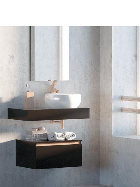 042dfd21dd30 Mueble de baño suspendido 1 cajón Aqua 80 cm Negro Mate - Regleta Cobre Mate