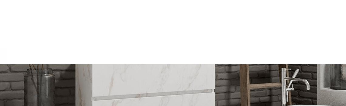 Mueble de baño suspendido Vica 100 carrara 2 cajones en acabado carrara mate. Un mueble de baño de seno centrado de apertura suave por uñero con encimera para grifo empotrado.