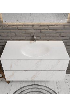 Mueble de baño suspendido Vica 100 carrara mate 2 cajones en acabado carrara mate . Un mueble de baño de apertura suave por uñero,encimera para grifo sobre encimera.