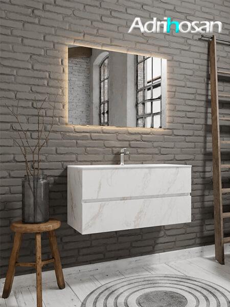 Mueble de baño Vica 100 cm carrara mat con 2 cajones, lavabo de Solid surface seno centrado con 1 orificio(s) para el grifo.