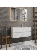 Mueble de baño suspendido Vica 100 carrara mate 2 cajones seno derecha. Un mueble de baño de apertura suave por uñero,encimera para grifo sobre encimera.