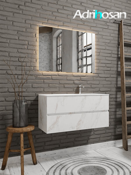 Mueble de baño Vica 100 cm carrara mat con 2 cajones, lavabo de Solid surface seno derecho con 1 orificio(s) para el grifo.