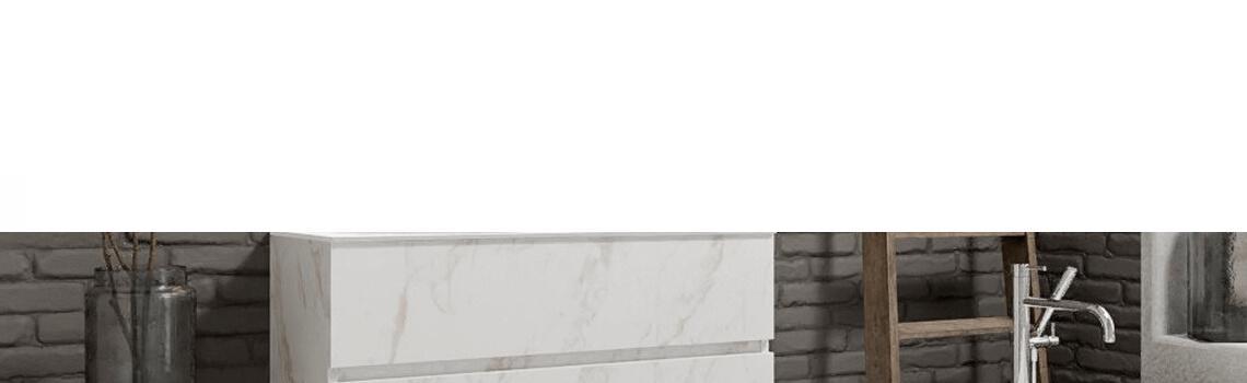 Mueble de baño suspendido Vica 100 carrara mate 2 cajones en acabado carrara mate. Un mueble de baño de apertura suave por uñero con encimera para grifo empotrado y seno izquierda.