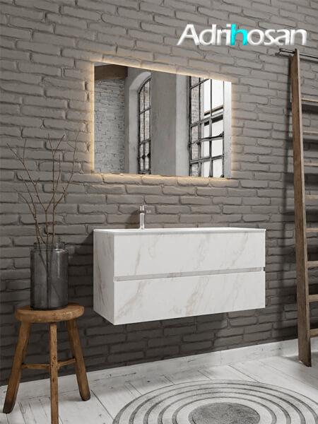 Mueble de baño Vica 100 cm carrara mat con 2 cajones, lavabo de Solid surface seno izquierdo con 1 orificio(s) para el grifo.