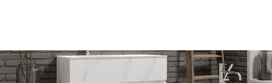 Mueble de baño suspendido Vica 100 carrara mate 2 cajones seno izquierda. Un mueble de baño de apertura suave por uñero,encimera para grifo sobre encimera.