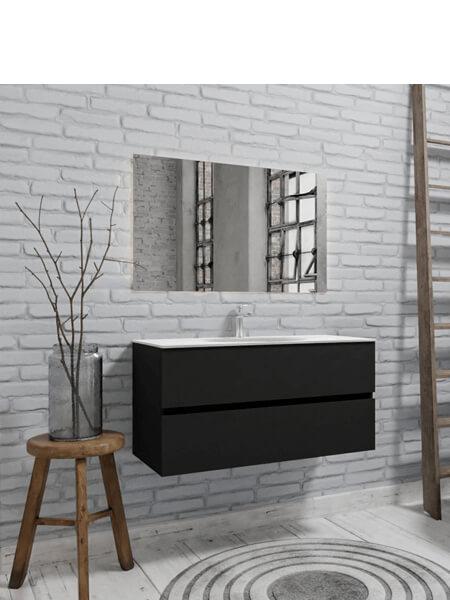 Mueble de baño suspendido Vica 100 negro mate 2 cajones en acabado negro mate . Un mueble de baño de apertura suave por uñero,encimera para grifo sobre encimera.