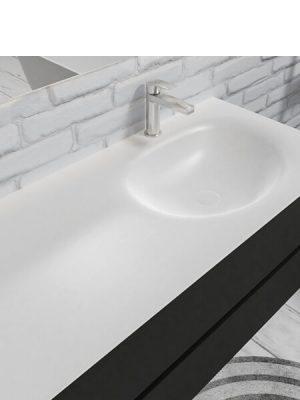 Mueble de baño suspendido Vica 100 negro mate 2 cajones seno derecha. Un mueble de baño de apertura suave por uñero,encimera para grifo sobre encimera.