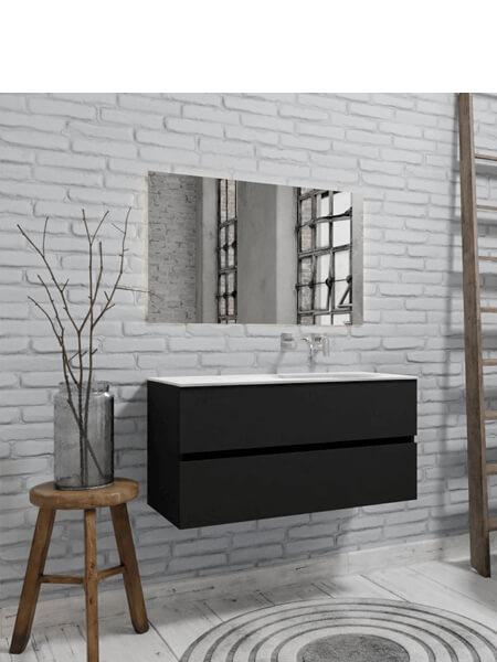 Mueble de baño 100 cm Vica negro mate con 2 cajones, lavabo de Solid surface seno derecho con 0 orificio(s) para el grifo.
