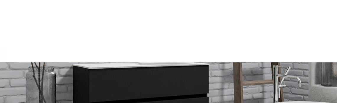 Mueble de baño suspendido Vica 100 negro mate 2 cajones en acabado negro mate . Un mueble de baño de seno derecha de apertura suave por uñero con encimera para grifo empotrado.