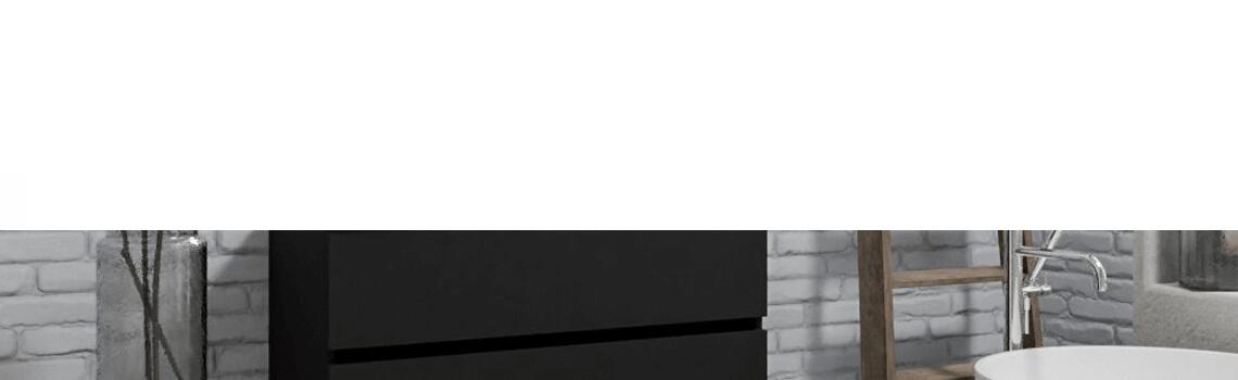 Mueble de baño suspendido Vica 100 negro mate 2 cajones seno izquierda. Un mueble de baño de apertura suave por uñero,encimera para grifo sobre encimera.